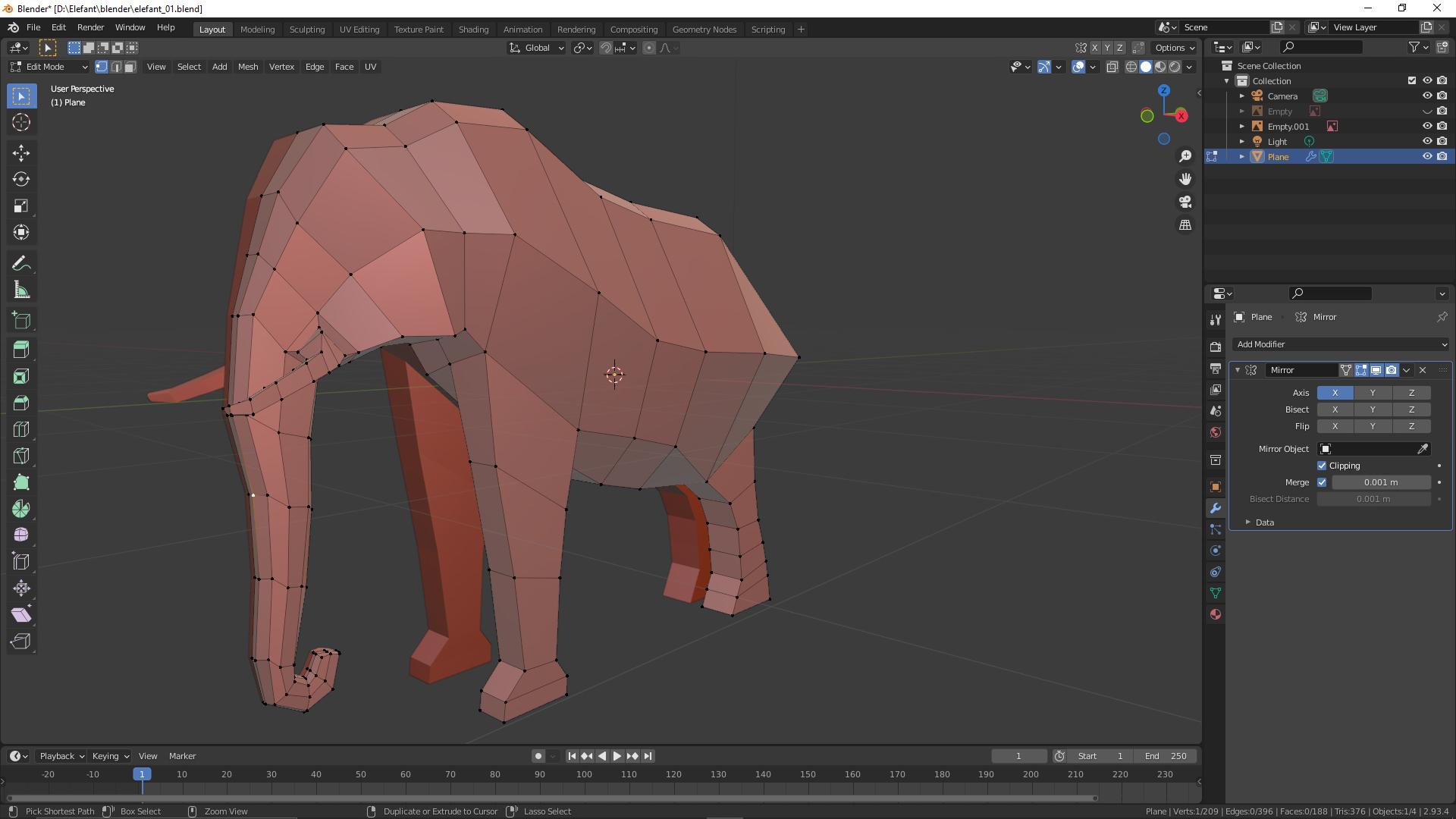 Low Poly Afrikanischer Elefant