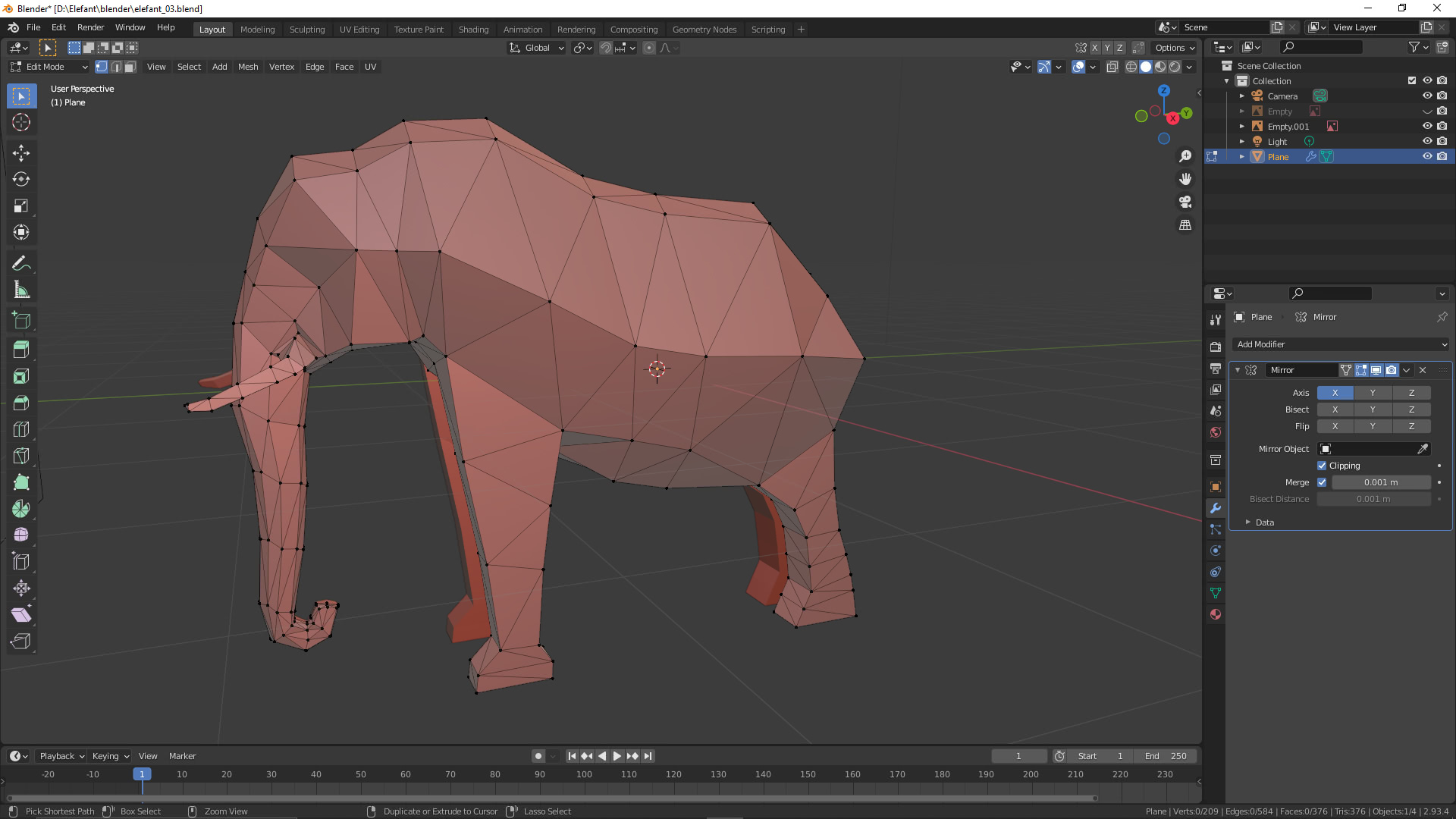 Elefant Netz trianguliert