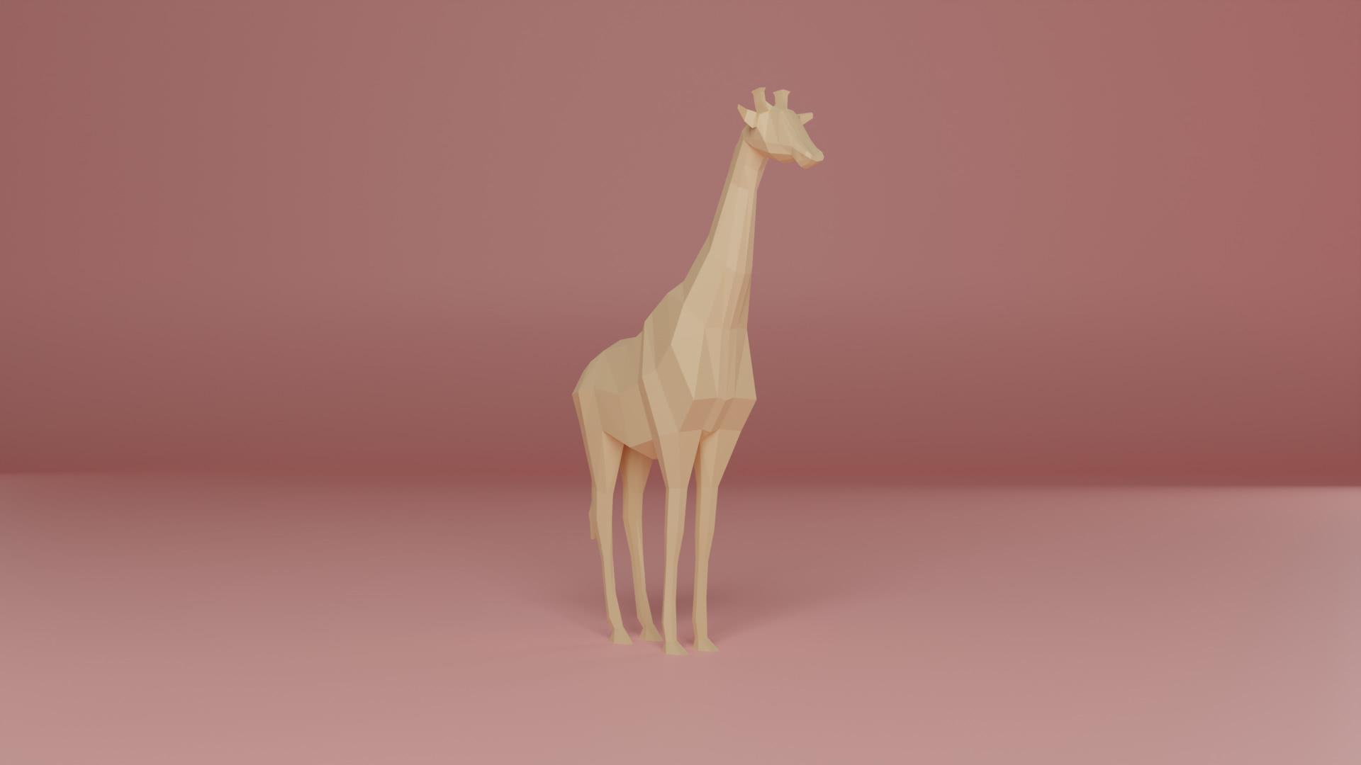 Low Poly 3D-Modell Giraffe
