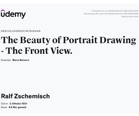 """Meine Abschlussbescheinigung für den Kurs """"The Beauty of Portrait Drawing – The Front View"""""""