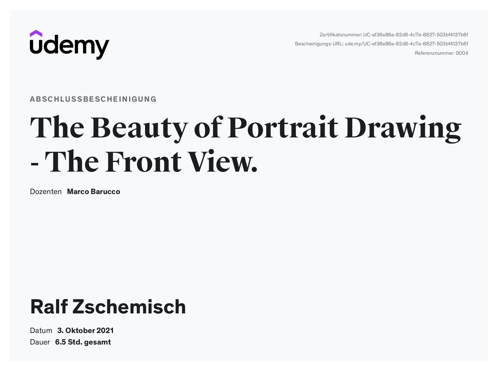 """Meine Abschlussbescheinigung für den Kurs """"The Beauty of Portrait Drawing - The Front View"""""""