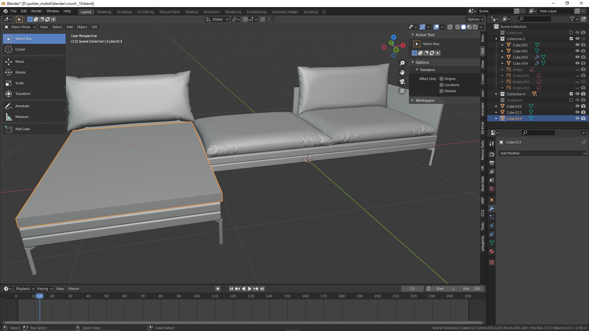 3D Visualisierung: Couch für VR/AR